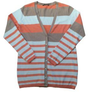 Button up cardigan colorful stripes size Large